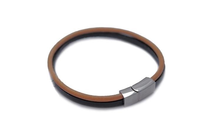 Podwójna – jasny brąz i czarny z zapięciem płaskiem magnetycznym