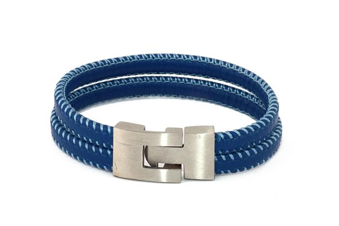 Bransoletka niebieska podwójny rzemień szyty, zapięcie klamra