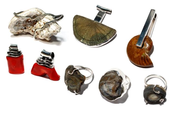 Wisiory srebrne minerały i koral