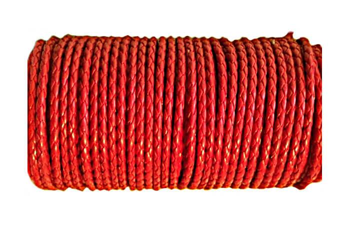 Rzemień syntetyczny. Czerwony 4mm